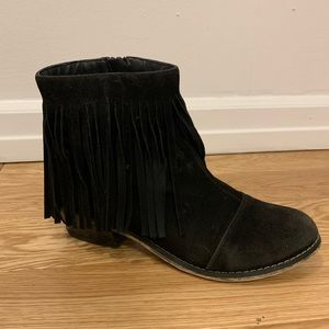 Women's Black Fringe Booties